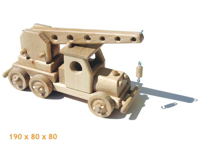 Autojeřáb , dřevěná hračka