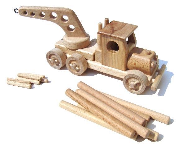 Autojeřáb dřevěná hračka