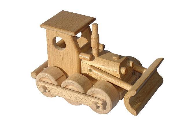 Buldozér dřevěná hračka