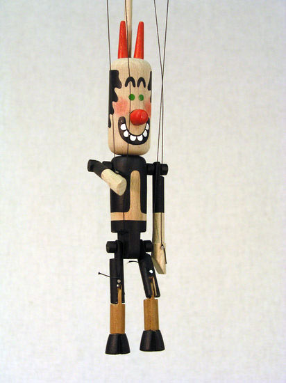 Ďábel dřevěná loutka