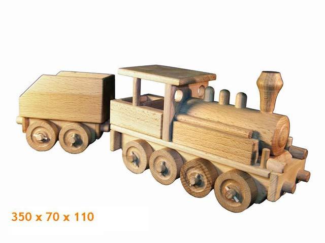 Parní lokomotiva dřevěná hračka